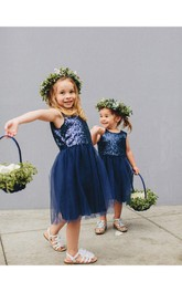 Short Jewel Sleeveless Sequined Glamorous Flower Girl Dress