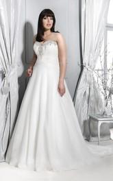 Sweetheart A-line Pleated plus size wedding dress With Beading And Corset Back