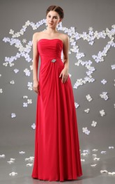 Floor-Length Beaded Embellishment Strapless Chiffon Gown