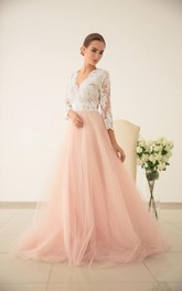 Lace Wedding Sleeved Wedding Tulle Dress