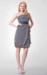 Sleeveless Ruched Draped Mini Chiffon Dress With Backless