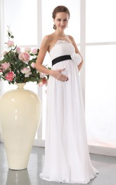 Strapless Floral Waistband Pregnant Chiffon Gown