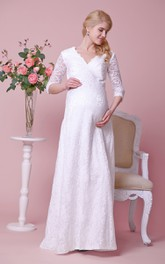 V-Neckline 3 4 Sleeves Lace Allover Floor-Length Dress