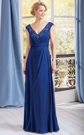 A-Line Appliqued Neck V-Neckline Cap-Sleeved Gown