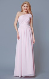 Ruched Satin Sash One-Shoulder Sleeveless Chiffon Gown