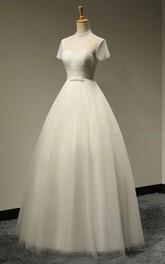 Bridal Short Sleeves Beaded Bodice A-Line High-Neckline Dress