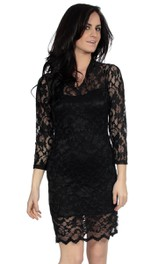 Lace Illusion Inspire Short Long-Sleeved Column Dress