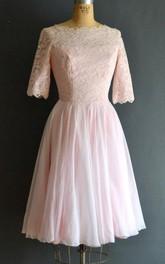 Bateau Half Sleeve short A-line Dress With Lace top