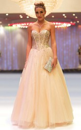 Sweetheart A-line Tulle Dress With Beading And Corset Back