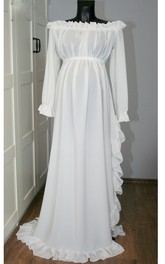 Beach Off-the-shoulder Long Sleeve Pleated Ruffled Split Front Maternity Wedding Dress