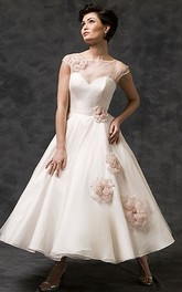 champagne Bateau Cap-sleeve Tea-length Dress With Flower And Illusion