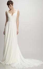 V-neck Sleeveless Chiffon Wedding Dress With Ruching And Pleats