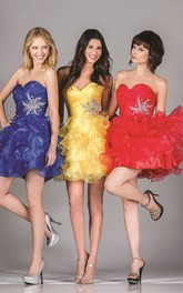 A-Line Criss Cross Ruffled Mini Sweetheart Sleeveless Strapless Organza Dress