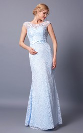 Bateau-Neckline Deep V-Back Cap-Sleeved Radiant Lace Gown
