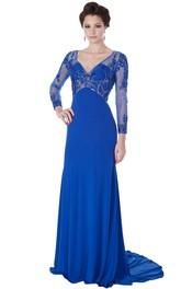 Beaded Long-Sleeve V-Neck Maxi Chiffon Evening Dress With Appliques