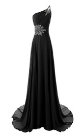 Crystal Embellishments Long Train Single-Shoulder Gorgeous Dress