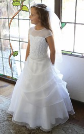 Lace Sequined Draped Layered Flower Girl Dress