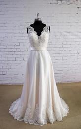 Long Satin Wedding Sleeveless V-Neckline Tulle A-Line Dress