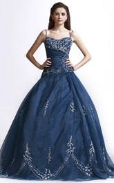Adorable Straps Beaded Ballgown With Lace Appliques And Lace-up Back