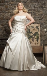 Strapless Satin A-line Pick Up Ball Gown With Flower And Corset Back