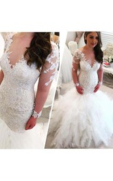 V-neck Lace Tulle Illusion Long Sleeve Wedding Dress