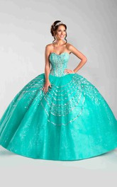 Sweetheart A Matching Illusion Jacket Strapless Sequined Ball Gown