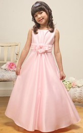 Satin Floral Ankle-Length Flower Girl Dress
