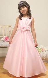 Satin Floral Ankle-Length Flower Girl Dress