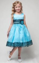 Lace Sash Appliqued Tea-Length Flower Girl Dress