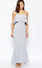 Sheath Ankle-Length Sleeveless Spaghetti Chiffon Bridesmaid Dress