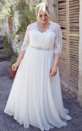A-line Half Sleeve V-neck plus size Wedding Dress With Waist Jewellery