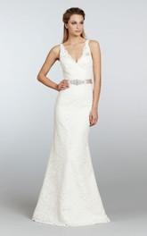 Floor-Length Crystal Sash Satin Ribbon V-Neckline Stunning Lace Dress