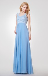 Sleeveless Sheath Chiffon Long Empire Dress With Lace top