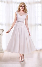 Cap-sleeve Plunged A-line Tea-length Wedding Dress With Appliques And Illusion