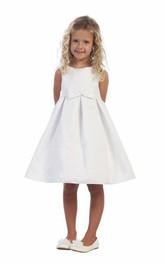 Satin Slit Front Pleated Short-Midi-Slit Flower Girl Dress
