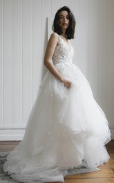 Romantic Plunging V-neck Sleeveless Deep V-back Bridal Ballgown With Lace Appliques And Tulle Skirt