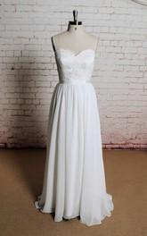 Floor-Length Chiffon Backless Spaghetti-Strap Wedding A-Line Dress