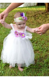 Baby Pleated Floral White-Feather Dress