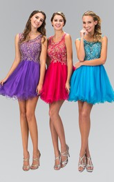 A-Line Jeweled Ruffled Short Mini Sleeveless Scoop-Neck Tulle Dress