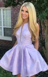 Halter Plunging Neckline Satin Sleeveless Short A Line Homecoming Dress