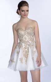 Mini A-Line Sweetheart Metallic Prom Dress With Beaded Appliques