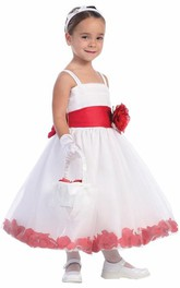 Tiered Tea-Length Spaghetti Flower Girl Dress