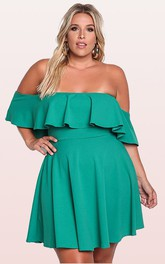 Off-the-shoulder Taffeta Short Sleeve Mini Open Back Cocktail Dress with Pleats