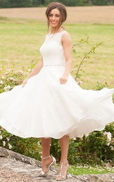 Bateau Sleeveless Tea-length Wedding Dress With Ruffled hemline