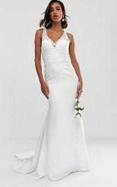 Ethereal Chiffon Sheath Straps Long Wedding Dress with Court Train