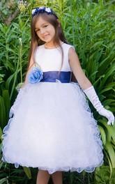 Organza Ruffled Floral Tea-Length Flower Girl Dress