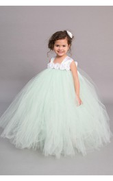 Tulle Chiffon Floral Empire-Waist Cap-Sleeve Ball Gown