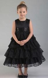 Sequined Lace Tea-Length Flower Girl Dress