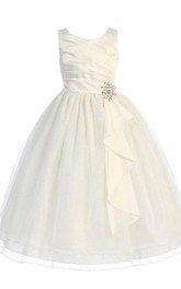Scoop-neck Sleeveless Satin Ball Gown Flower Girl Dress With Draping