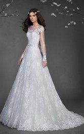 Long-Sleeve Appliqued Waist Jewellery Long A-Line Lace Gown